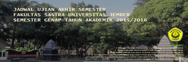 Jadwal Ujian AkhirSemester (UAS) Genap TA 2015/2016